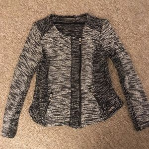 Calvin Klein Moto Jacket soft EUC black white zip